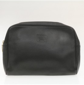 BURBERRYS Nova Check Leather Clutch Bag 2Set Black Auth 19103