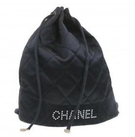 CHANEL Matelasse Quilted Backpack Satin Black CC Auth 19199
