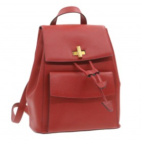 CELINE Leather Backpack Red Auth 19555