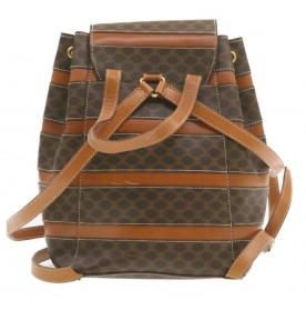 CELINE Macadam Canvas Backpack Brown PVC Leather Auth 19921