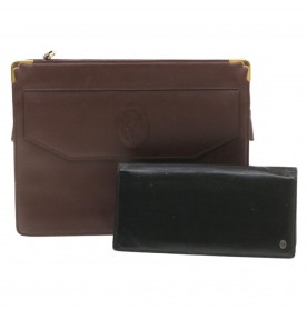 Cartier Clutch Bag Wallet 2set Leather Black Wine Red Auth 20311