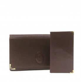 CARTIER Must Line Clutch Bag Wallet Bordeaux Leather 2Set Auth 20962