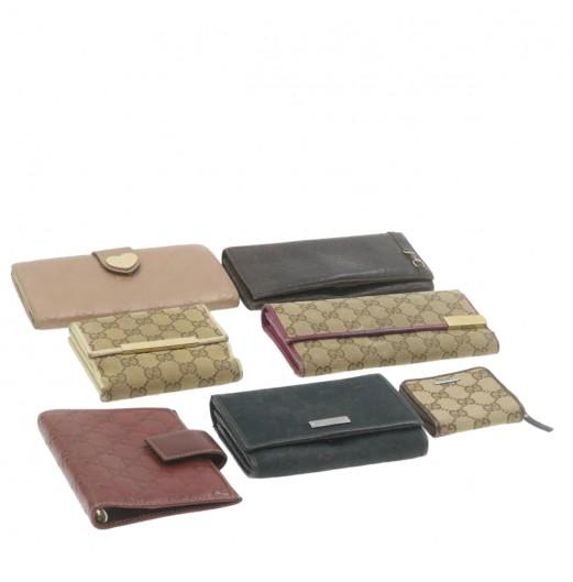 GUCCI GG Canvas Guccissima Wallet Agenda Coin Purse 7Set Auth 20978