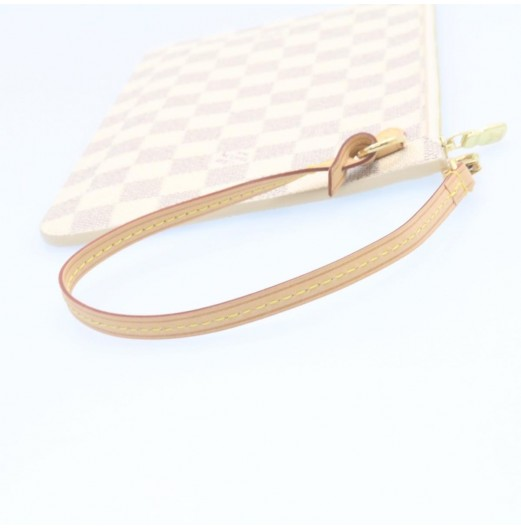 LOUIS VUITTON Damier Azur Neverfull MM Pouch LV Auth 22297