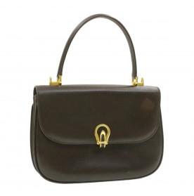 BALLY Leather Hand Bag Brown Auth ar3136