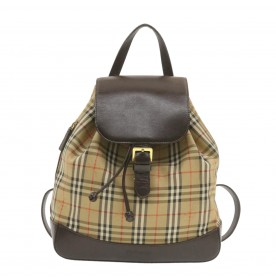 BURBERRY Nova Check Backpack Beige Canvas Auth ar3262
