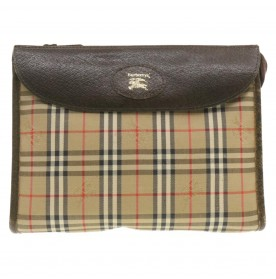 BURBERRYS Nova Check Clutch Bag Beige Canvas Auth ar3277