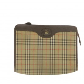 BURBERRYS Nova Check Clutch Bag Beige Nylon Auth ar3422