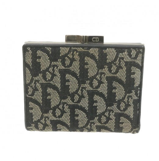 CHRISTIAN DIOR Trotter Canvas Frame Wallet Navy Blue Auth ar3680