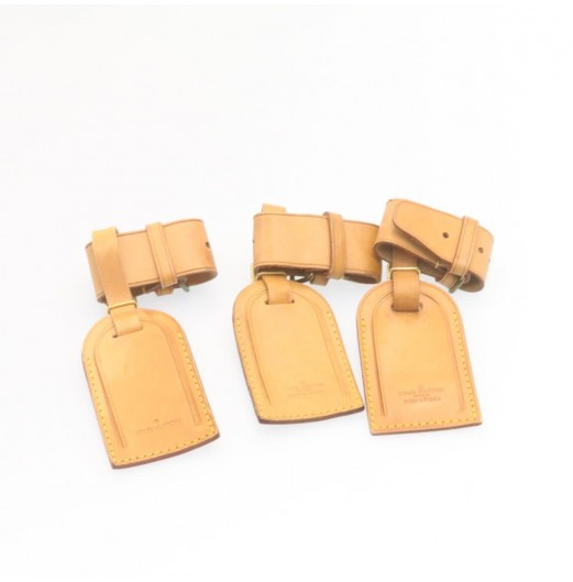 LOUIS VUITTON Leather Name Tag Powanie 10Set Beige LV Auth ar4139