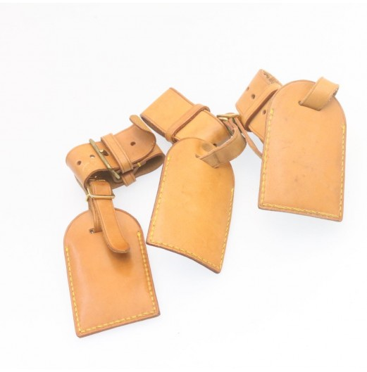 LOUIS VUITTON Leather Name Tag Powanie 10Set Beige LV Auth ar4140