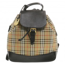 BURBERRY Nova Check Backpack Beige Canvas Auth br297