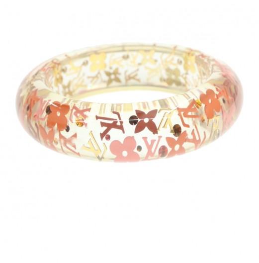 LOUIS VUITTON Bangle Bracelet Pink Clear Plastic Auth gt187