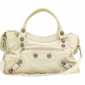 BALENCIAGA 2way Shoulder Hand Bag White Leather Auth gt289