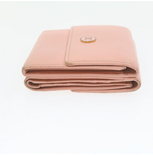 CHANEL Coco Button Wallet Pink Leather CC Auth gt629