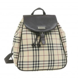 BURBERRY Nova Check Backpack Beige Canvas Auth gt693