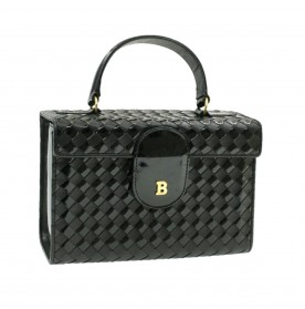 Bally Enamel Hand Bag Black Auth pg884
