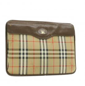 BURBERRYS Nova Check Clutch Bag Beige Canvas Auth rd1082