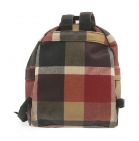 BURBERRY Blue Label Crestbridge Backpack PVC Leather Red Beige Auth rd1550