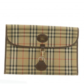 BURBERRY Nova Check Clutch Bag Briefcase Beige Canvas Auth rd1924