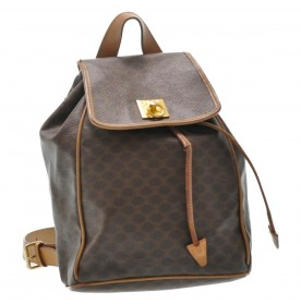 CELINE Macadam Canvas Backpack Brown PVC Leather Auth ti135