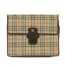 BURBERRYS Nova Check Clutch Bag Beige Canvas Auth ti336